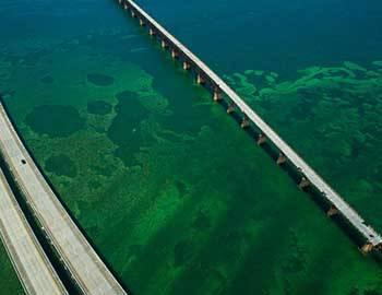 Ariel shot of Seven Mile Bridge in Key West, Florida