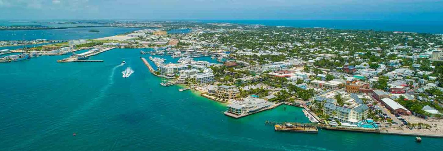 Ariel photo of Key West's land and water