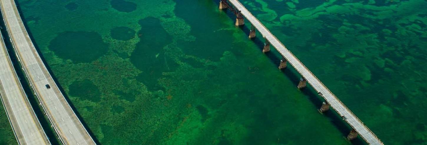 Ariel shot of Key West's Seven Mile Bridge