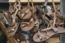 Homemade leather sandals