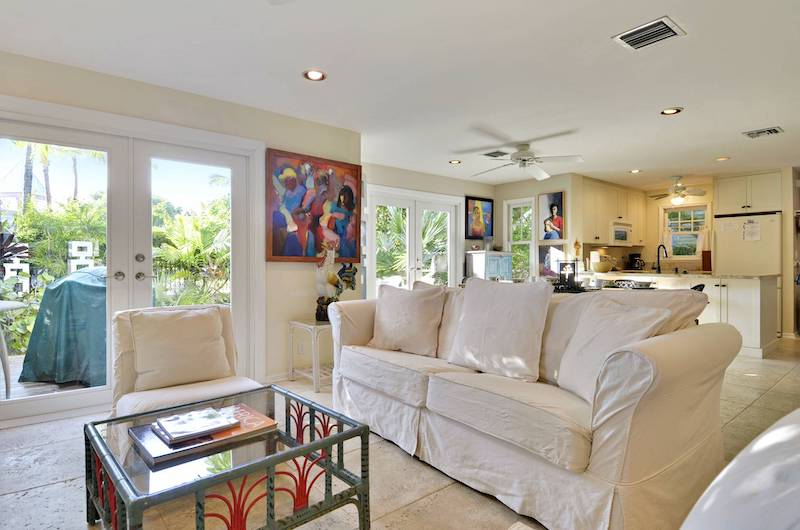 A bright living room in a Key West vacation rental