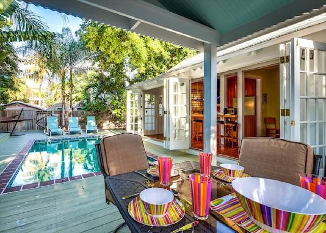 A backyard of a Key West vacation rental